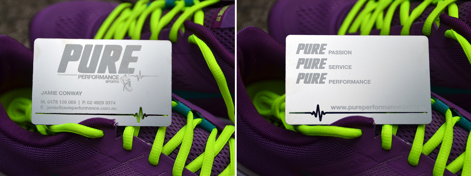 Pure Performance Sports Metal Cards Design